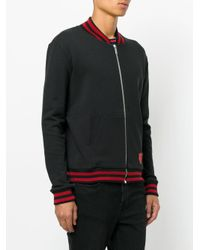 Saint Laurent - Black Shield Logo Zipped Sweatshirt for Men - Lyst