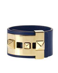 Valentino - Blue Rockstud Bracelet With Metal Studs - Lyst