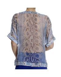 Ermanno Scervino - Blue Top Short Sleeve Silk Print Python Print - Lyst