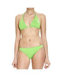 Polo Ralph Lauren | Green Swimsuit Bikini Triangle Large Pony | Lyst