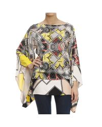 Class Roberto Cavalli | White Printed Cotton and Silk-blend Shirt | Lyst