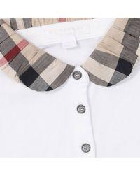 Burberry - White T-shirt Polo Piquet Mezza Manica Con Collo Check - Lyst