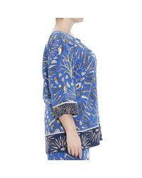Marina Rinaldi - Blue Camicia Bombay Manica Lunga Crepes De Chine Stampa Conchiglie Al Over - Lyst
