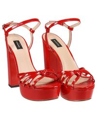 Pinko - Red Heeled Sandals Shoes Women - Lyst