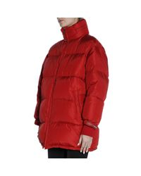 56a16e3dce Prada Waterproof Nylon Down Jacket With Maxi Logoed Band in Red - Lyst