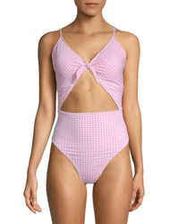 Juicy Couture - Pink Cut Out One-piece Printed Swimsuit - Lyst