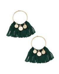 Ettika Jewelry - Green Coin & Fringe Statement Earrings - Lyst