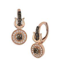 Le Vian - Metallic Two-tone Diamond Rose Gold Drop Earrings - Lyst