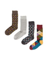 Happy Socks - Multicolor Instarsia Cotton Socks (4 Pk) for Men - Lyst
