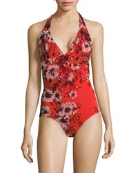 Jean Paul Gaultier - Red Vintage Floral Printed One-piece Swimsuit - Lyst