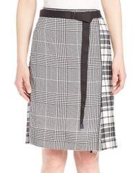 Calvin Klein - Black Runway Houndstooth & Plaid Silk Skirt - Lyst