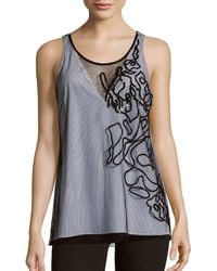 Sachin & Babi - Black Strauss Two-tone Embroidered Mesh Tank Top - Lyst