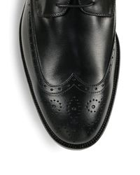 Saks Fifth Avenue - Black Collection Leather Lace-up Wing-tips for Men - Lyst