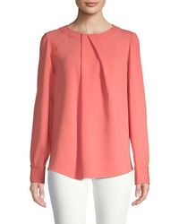 Oscar de la Renta - Pink Long-sleeve Stretch-silk Blouse - Lyst