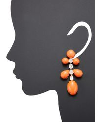 Kenneth Jay Lane | Multicolor Gold/crystal With Coral Drop Pierced Ear | Lyst