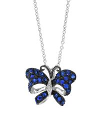 Effy - Multicolor Royale Bleu Sapphire, Diamond And 14k White Gold Butterfly Pendant Necklace - Lyst