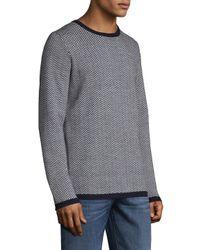 Barque - Blue Herringbone Merino Wool Sweater for Men - Lyst
