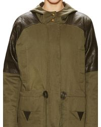 152a86420d79 Lyst - VEDA Oasis Hooded Leather Panel Jacket in Green