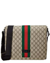 8c1c04cb563 Lyst - Gucci Gg Supreme Canvas   Leather Messenger Bag in Natural ...