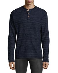 Vintage 1946 - Blue Knitted Cotton Henley for Men - Lyst