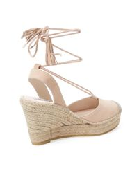 Elorie - Natural Leather Ankle-wrap Wedge - Lyst