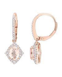 Rina Limor - 10k Pink Gold, Morganite & Sapphire Earrings - Lyst