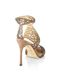 Sergio Rossi - Natural Tresor Swarovski Crystal And Suede Sandals - Lyst