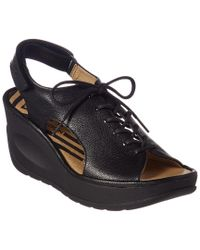 Fly London - Black Jart Leather Wedge Sandal - Lyst