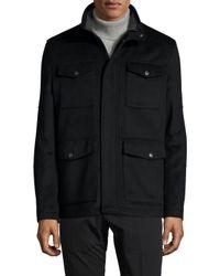 Hart Schaffner Marx Black Wool Stand Collar Field Jacket for men