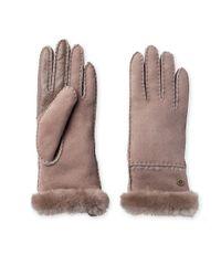 Ugg - Brown Exposed Slim Sheepskin-trimmed Leather Gloves - Lyst