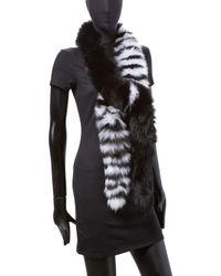 Adrienne Landau - Black Boa Striped Scarf - Lyst