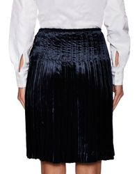 Prada - Black Pleated Elastic Flared Skirt - Lyst