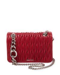 0e7335f9adb5 Miu Miu Club Matelassé Leather Shoulder Bag in Red - Lyst