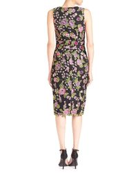 Badgley Mischka - Black Embroidered Floral Lace Sheath Dress - Lyst