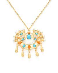 Kenneth Jay Lane - Metallic Resin & Pearl Pendant Necklace - Lyst