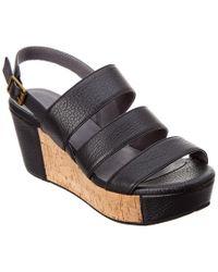 Chocolat Blu Black Whitly Leather Wedge Sandal