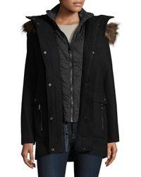 Vince Camuto - Black Faux Fur-trimmed Wool-blend Parka - Lyst