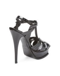 Saint Laurent - Black Embossed High Heel Sandal - Lyst