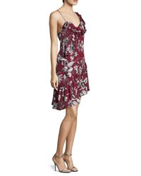 Parker - Red Ruffle Shoulder Printed Dress - Lyst