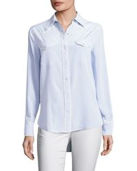 Rag & Bone - Blue Jesse Piped Silk Blouse - Lyst
