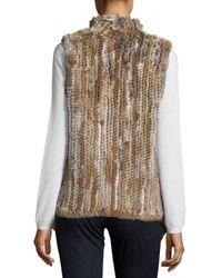 Saks Fifth Avenue - Black Asymmetrical Rabbit Fur Vest - Lyst