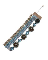 Deepa Gurnani - Blue Brass Feather & Beaded Statement Bracelet - Lyst
