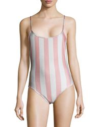 Wildfox - Pink 90's Striped One Piece Swimsuit - Lyst
