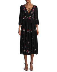 Raga - Black Sammy Embroidered Midi Dress - Lyst