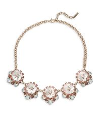Saks Fifth Avenue - Metallic Clear Crystals Floral Necklace - Lyst