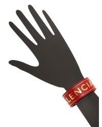 Balenciaga - Red Embossed Logo Leather Bracelet - Lyst