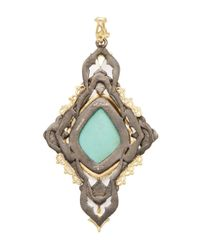Armenta - Metallic Old World 18k Gold, Turquoise, Moonstone & 0.64 Total Ct. Diamond Large Carved Cross Enhancer - Lyst