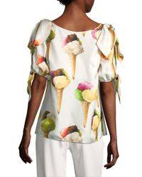 Dolce & Gabbana - Multicolor Ice Cream V-neck Blouse - Lyst