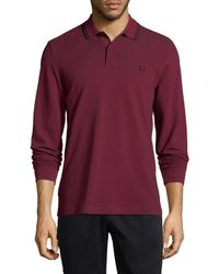 18a916b4a Lyst - Fred Perry Long Sleeve Twin Tipped Polo in Purple for Men
