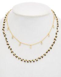 Alanna Bess - Metallic Jewelry 18k Over Silver Black Spinel & Cz Necklace - Lyst